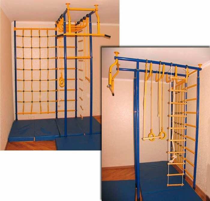 ДСК Веселый Непоседа 4-х опорный с рукоходом и сеткой для лазания ПЛЮС детский спортивный комплекс для дома