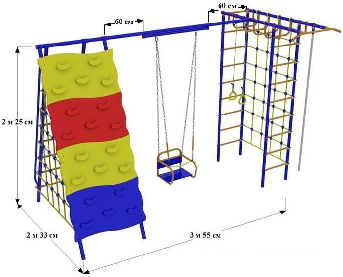 ДСК для дачи Веселый Непоседа №9 со скалодромом и качелями на подшипниках детские игровые площадки