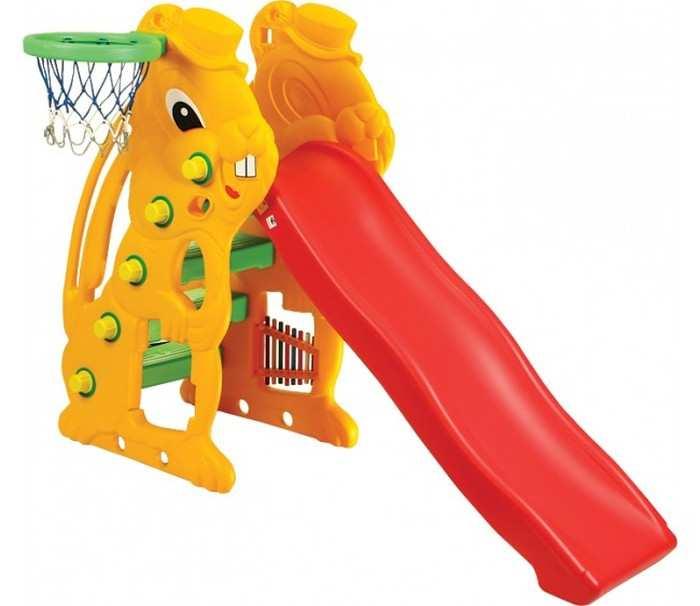 Детская горка Заяц с баскетбольным кольцом SL-07