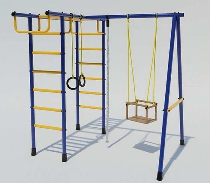 Детский спортивный комплекс для дачи Лидер Д2-01 качели на веревках