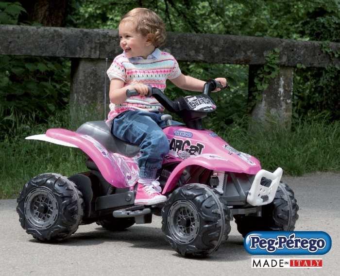 Детский квадроцикл для девочек Peg Perego CORRAL BEARCAT розовый