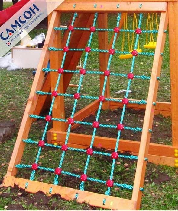 Скалодром сетчатый к ДИП Самсон Канатная сетка на деревянном каркасе